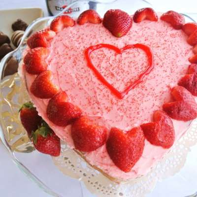 Almond Sour Cream Pound Cake with Heart-Shaped Strawberries