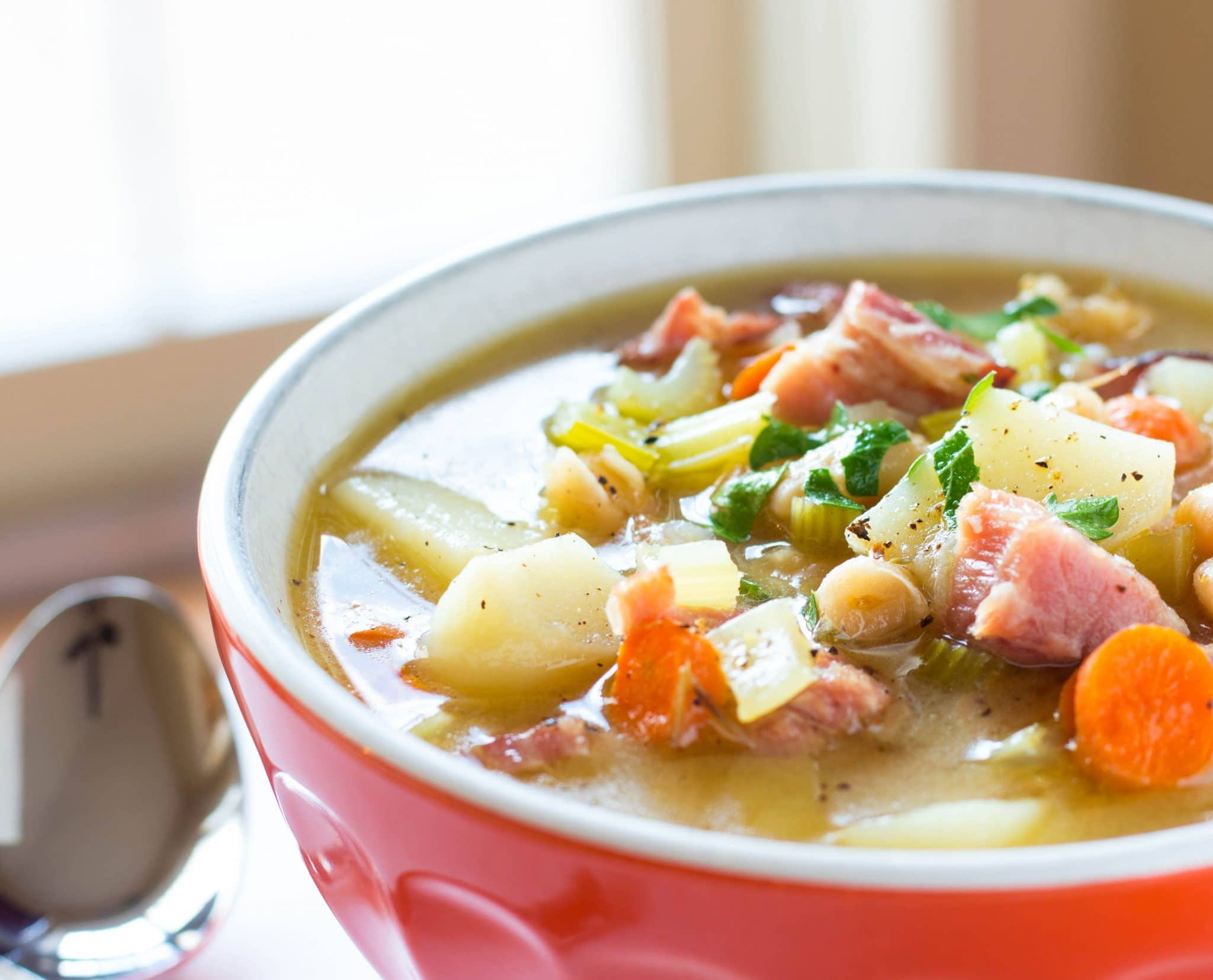 One Pot Ham Potato and Bean Soup