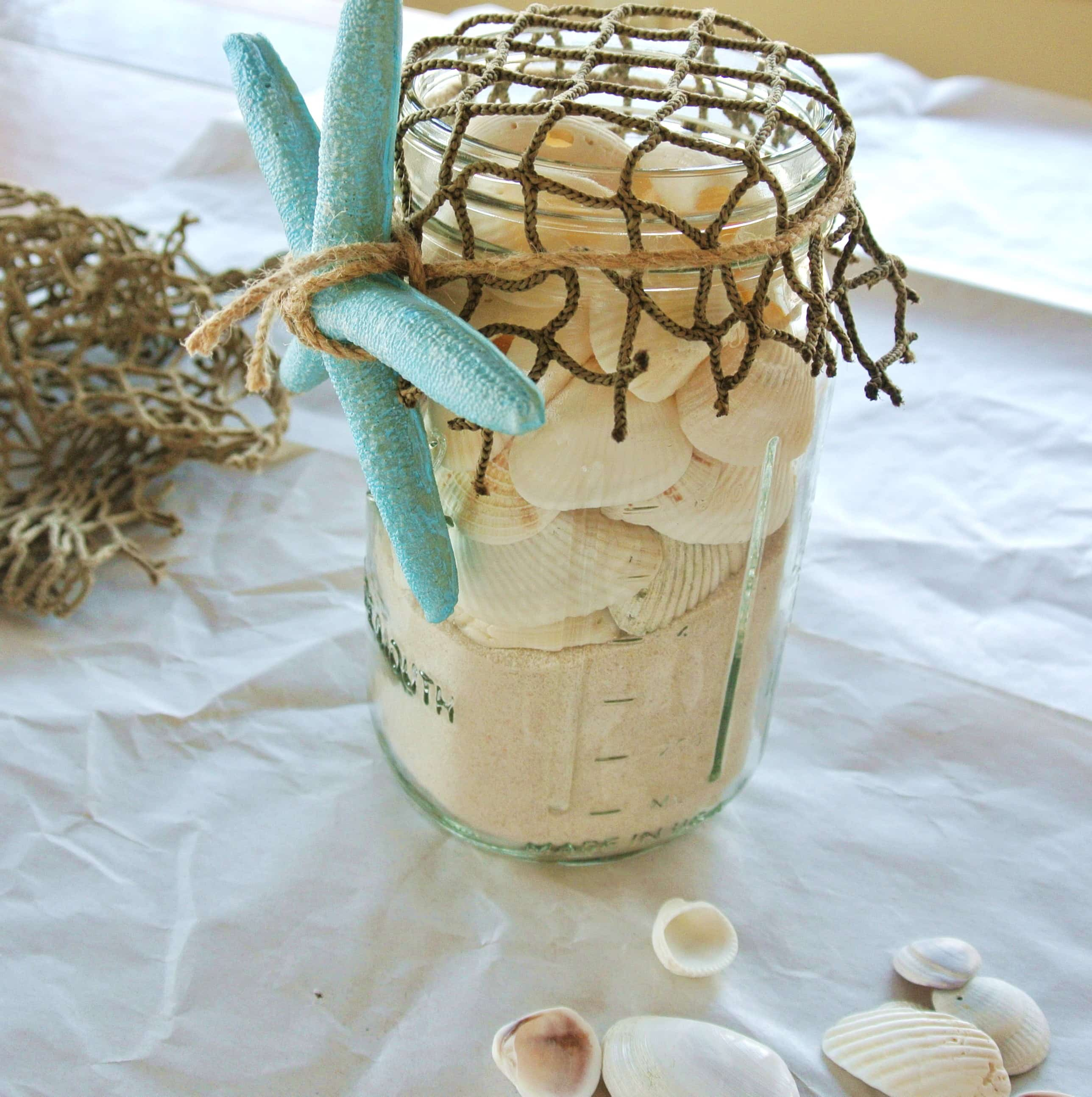 Sea Shell Mason Jar Beach Craft