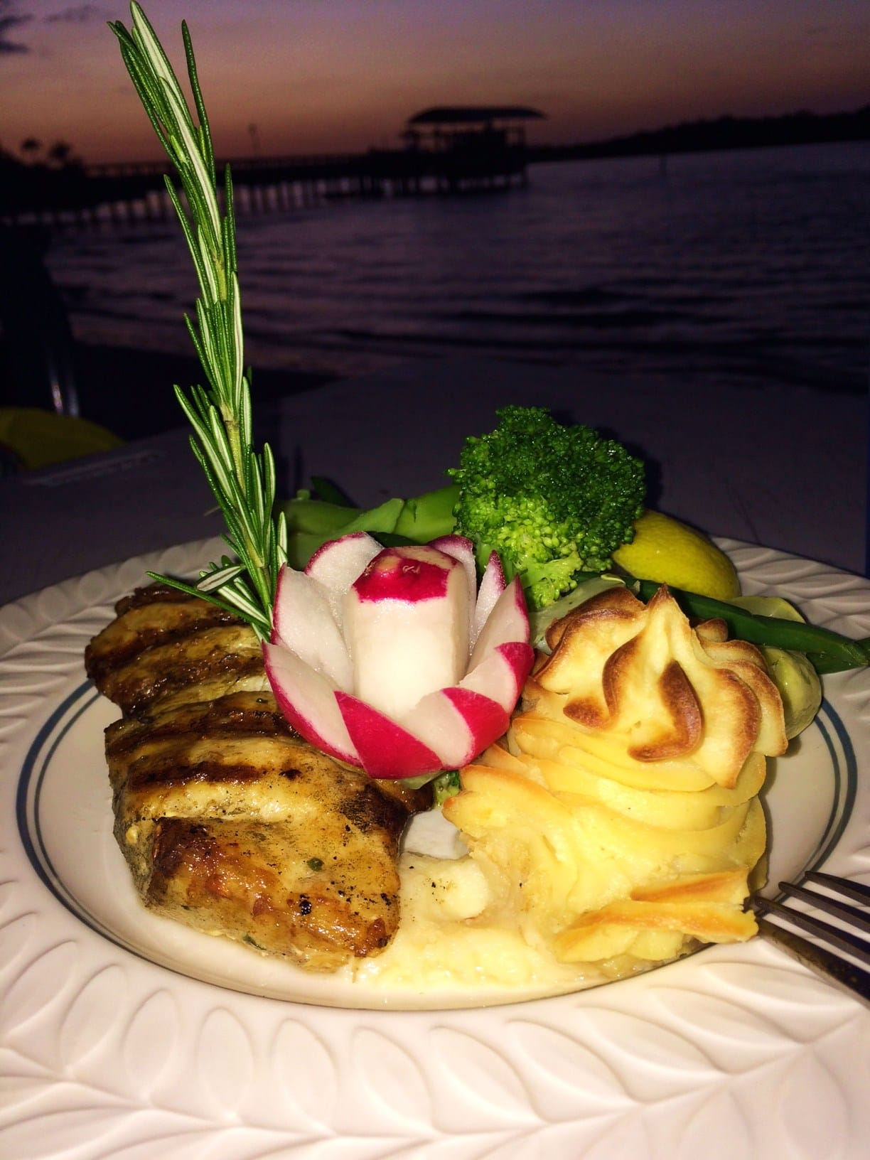 Capri Fish House Grilled Grouper with mashed potatoes and veggies