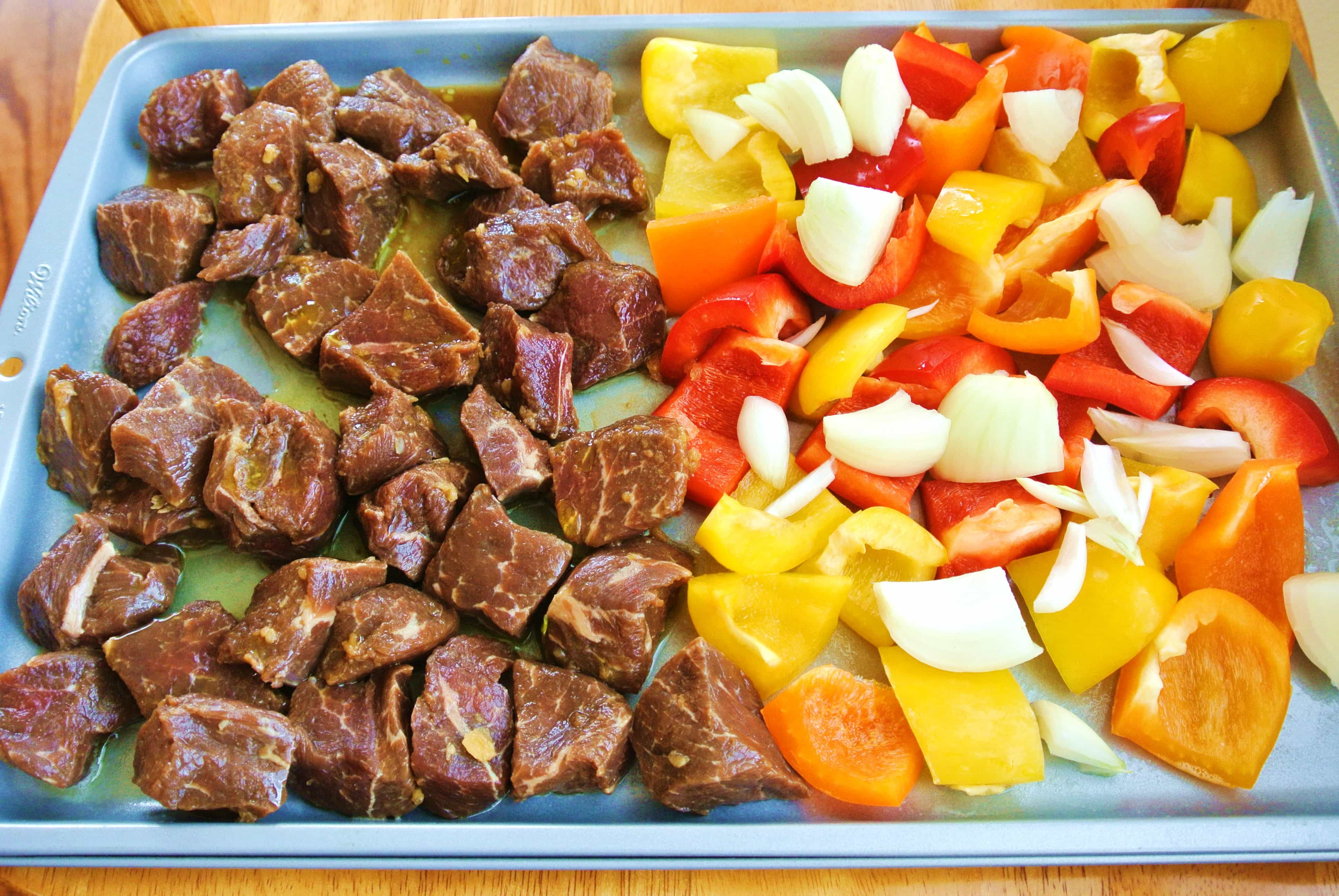 Deconstructed Sheet Pan Marinated Teriyaki Beef Kabobs