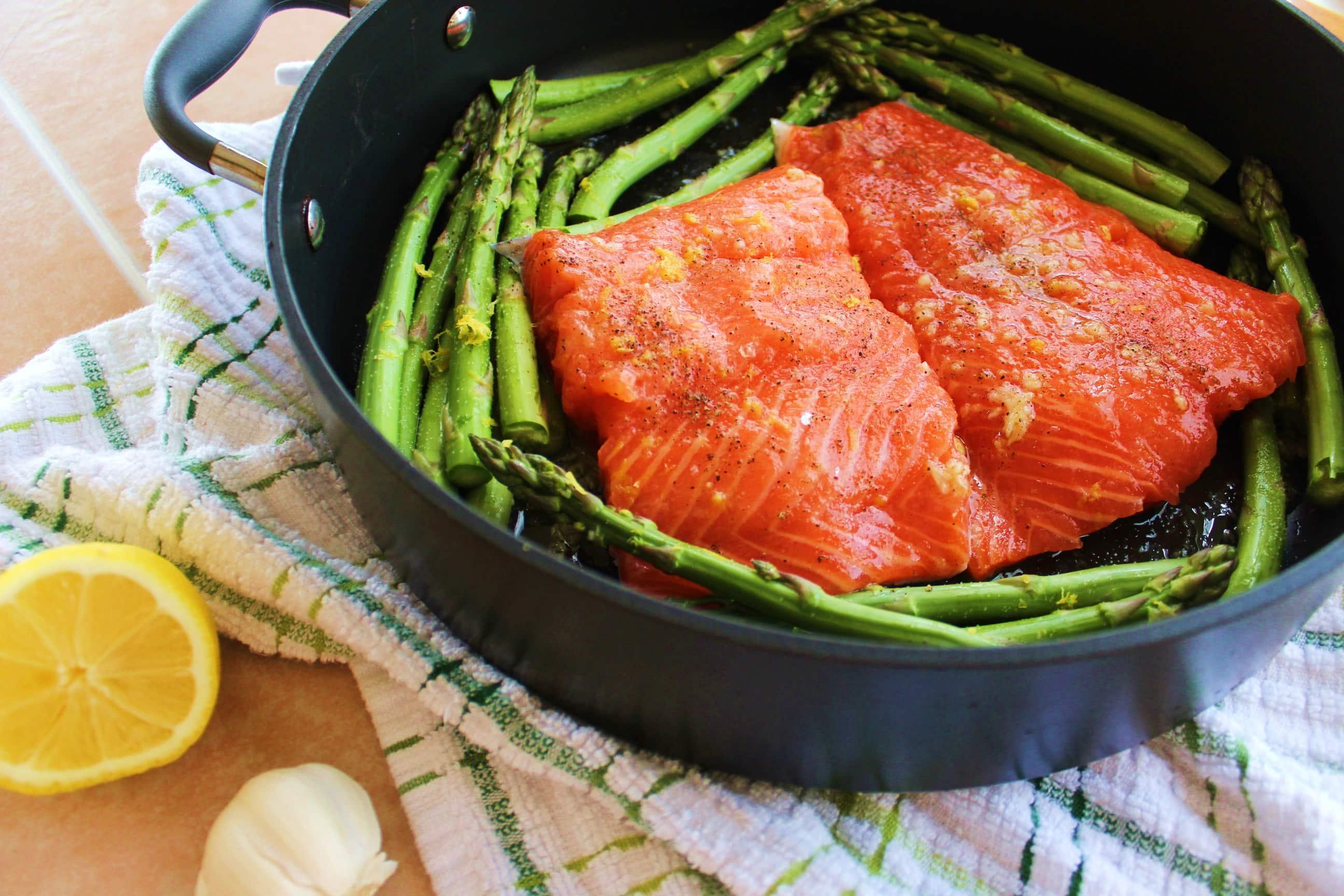One Pot Honey Lemon Salmon with Asparagus