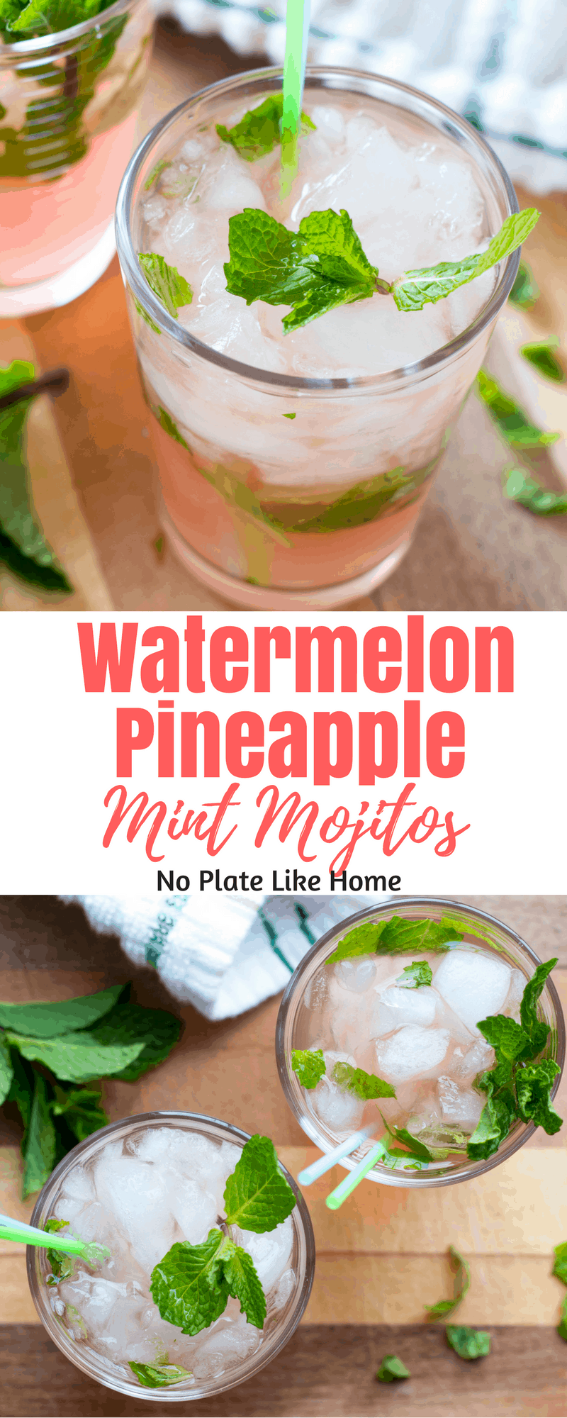 Watermelon Pineapple Mint Mojitos are refreshing summer cocktails to drink while lying next to the pool or on the beach! Easy-to-make!