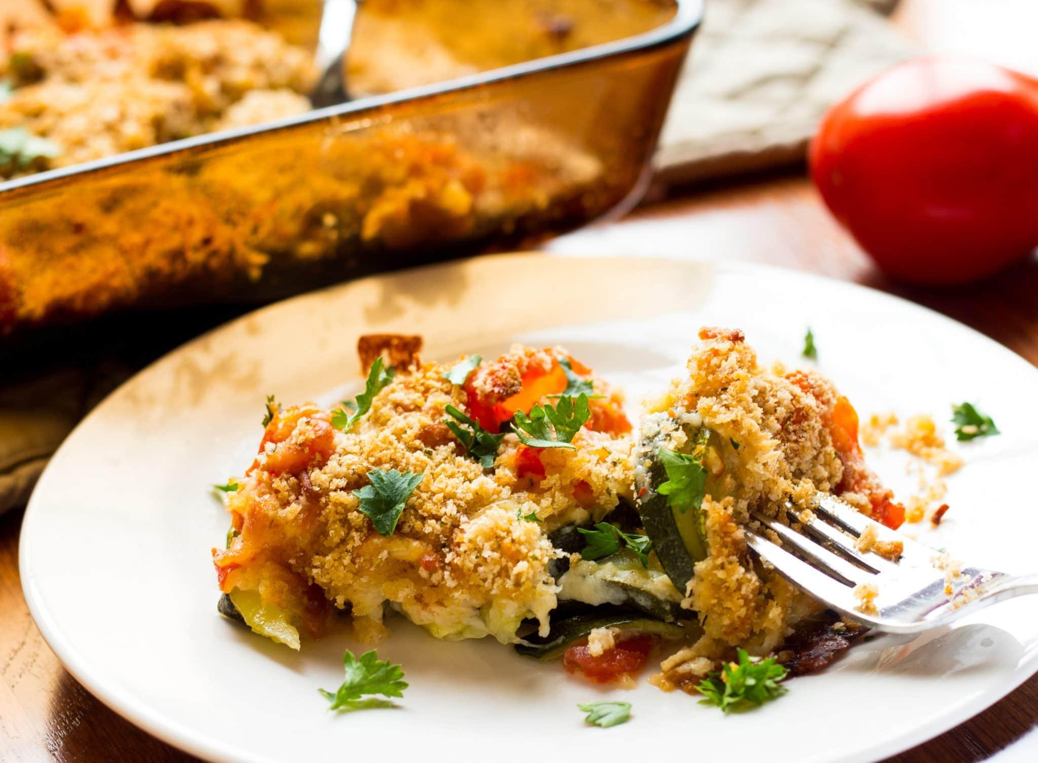 Tomato Zucchini and Mozzarella with Panko