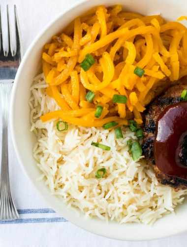 Asian Turkey Burger Bowls with Sriracha Honey Sauce
