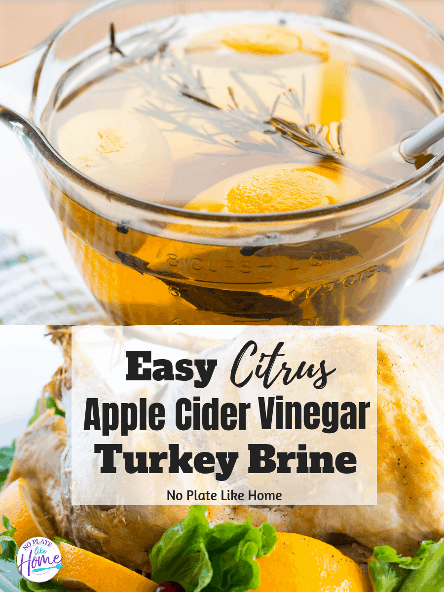 Easy Citrus Apple Cider Vinegar Turkey Brine recipe is a foolproof way to make a roasted turkey that is moist, flavorful and delicious for Thanksgiving!
