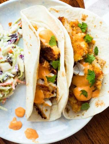 Panko Fish Tacos with Sriracha Lemongrass Sauce