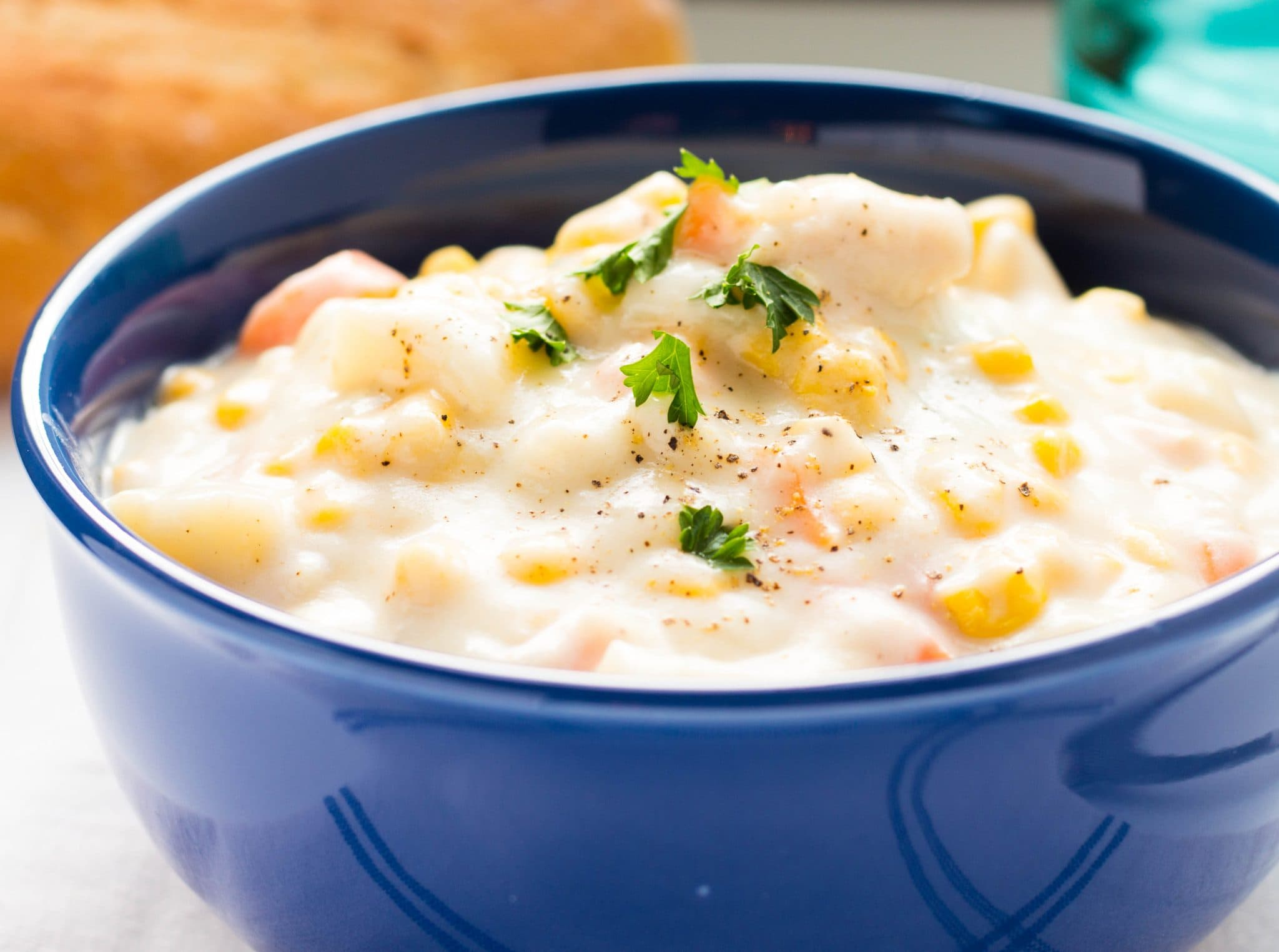 One Pot Creamy Chicken Corn Chowder