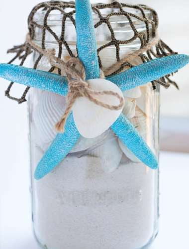 Mason Jar Sea Shell Beach Craft