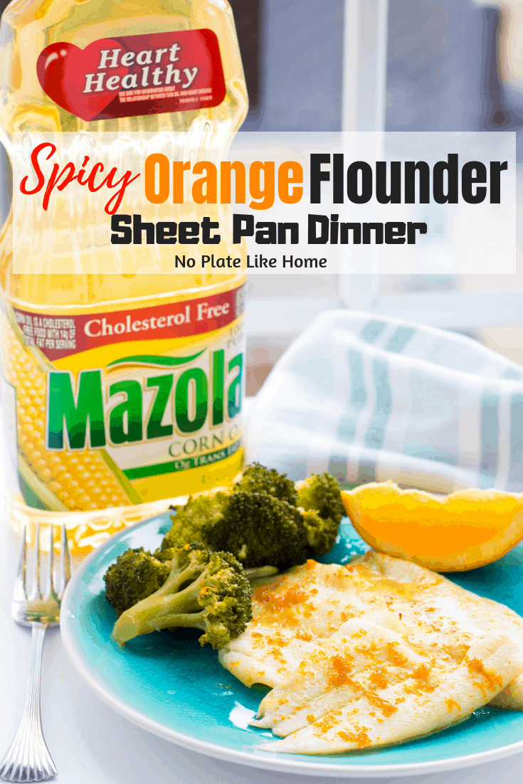 Delicious Spicy Orange Flounder Sheet Pan Dinner w/ broccoli is ready in 30 min w/ 5 ingredients & only 140 calories per serving! Healthy sheet pan dinners!