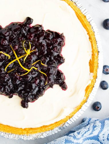 No Bake Lemon Blueberry Cheesecake