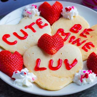 Conversation Heart Pancakes with Heart Strawberries