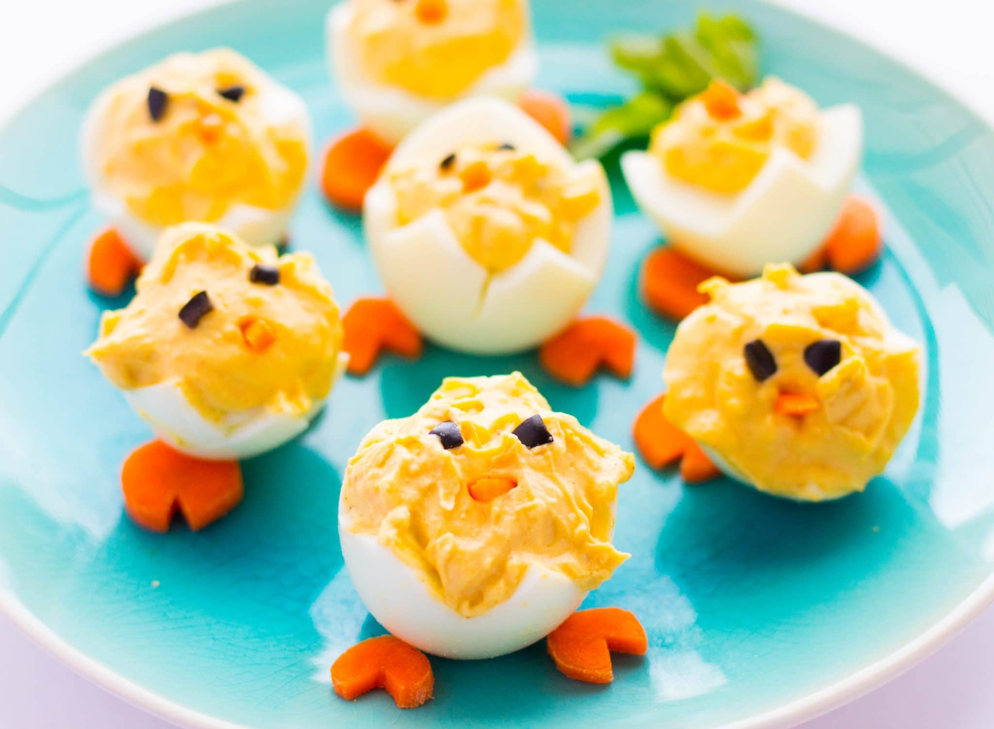 How to Make Easter Deviled Eggs Peeps Easily for your Easter brunch/dinner. This quick and easy low-carb & gluten-free appetizer to use leftover dyed eggs.