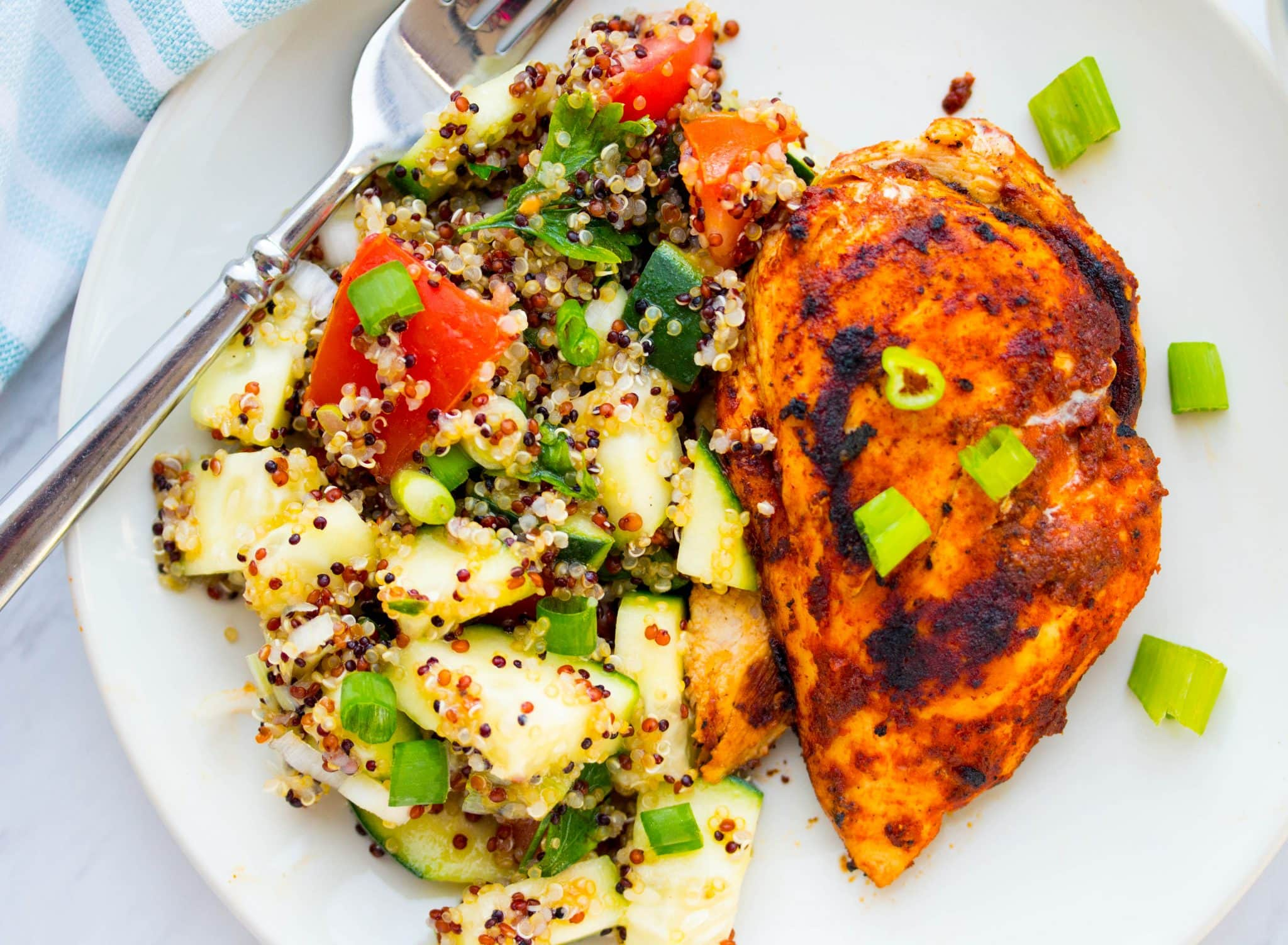 Lebanese-style Chicken Breasts with Quinoa & Tomato Tabbouleh