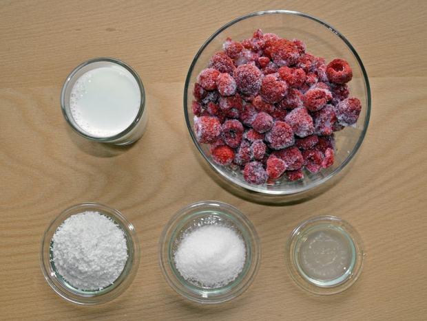 Zusammenstellung der Zutaten für Himbeer Kokos Eis