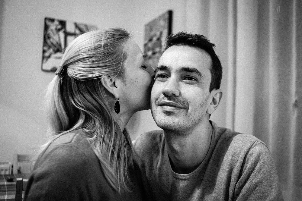 fotografie portre cuplu barbat femeie alb-negru