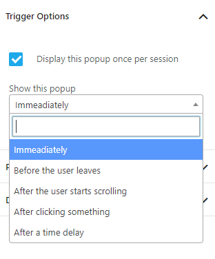 noptin popup trigger options