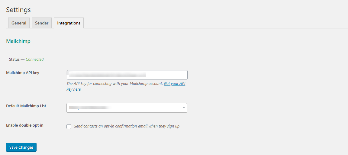 mailchimp integration settings page