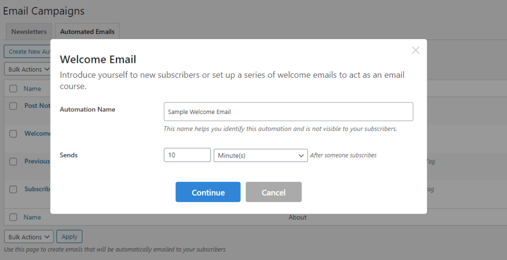 welcome emails setup
