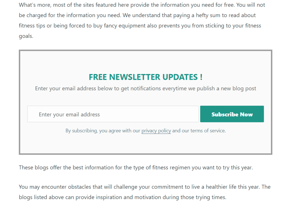 sample newsletter form