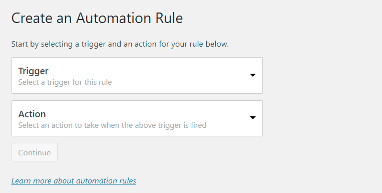 automation rules creation page