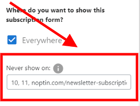 hide form on specific pages