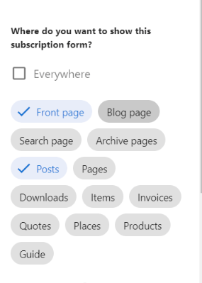 only show newsletter subscription form on blog posts