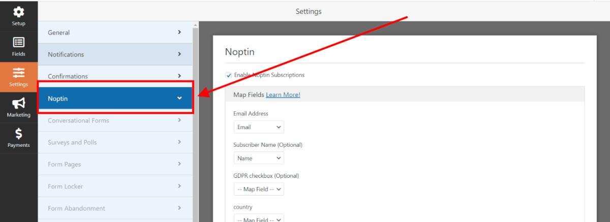 open wpforms form noptin settings