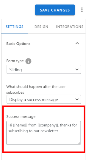 use merge tags in subscription success message
