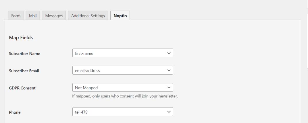 Map newsletter fields to form fields
