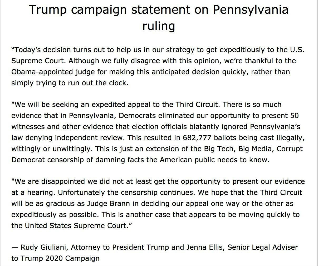 Trump campaign statement on Pennsylvania ruling