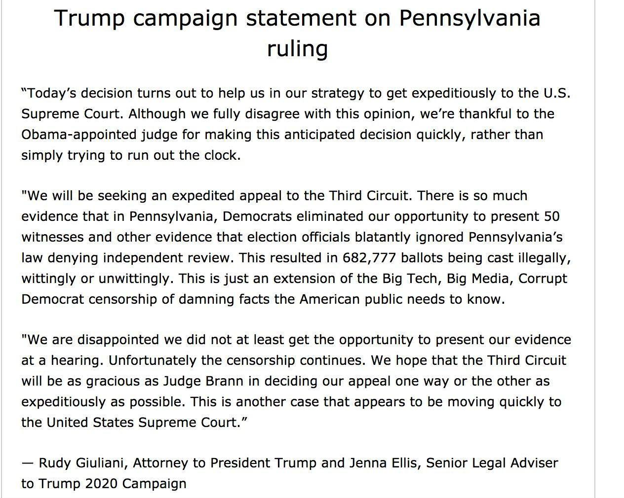 Trump campaign statement on Pennsylvania ruling