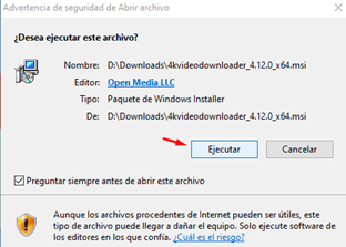 Ejecutar programa 4K Video Downloader