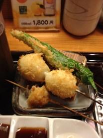 Okra and quail eggs (at Tatsukichi)