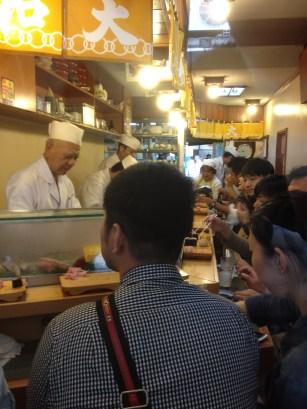 The sushi bar at Daiwa Sushi