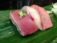From left to right: Bonito, the special white fish of the day, and toro (at Iwasa Sushi)