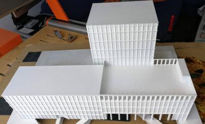 Impresion 3d maqueta edificio para arquitectos pintada