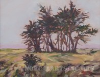 Oil painting of cypress trees in the early morning fog
