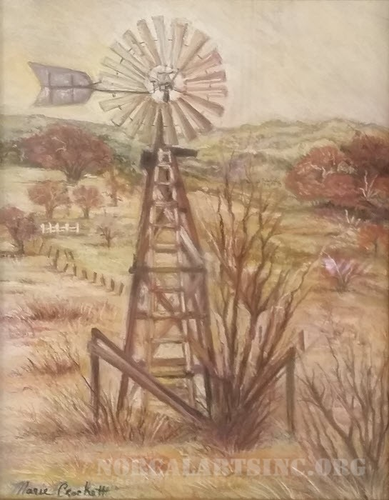 Windmills in Texas pastel
