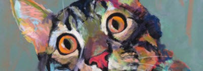 Cropped pastel portrait of cat face