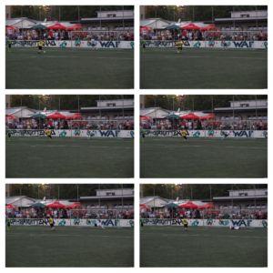 Bildfolge des Elfmeters zum 1:0 Viktorias im Elfmeterschießen