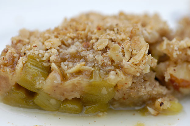 Rhubarb crumble with nuts and oats that will make you sing