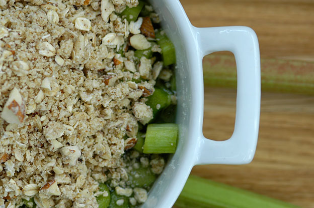 Rhubarb crumble before it is baked in the oven