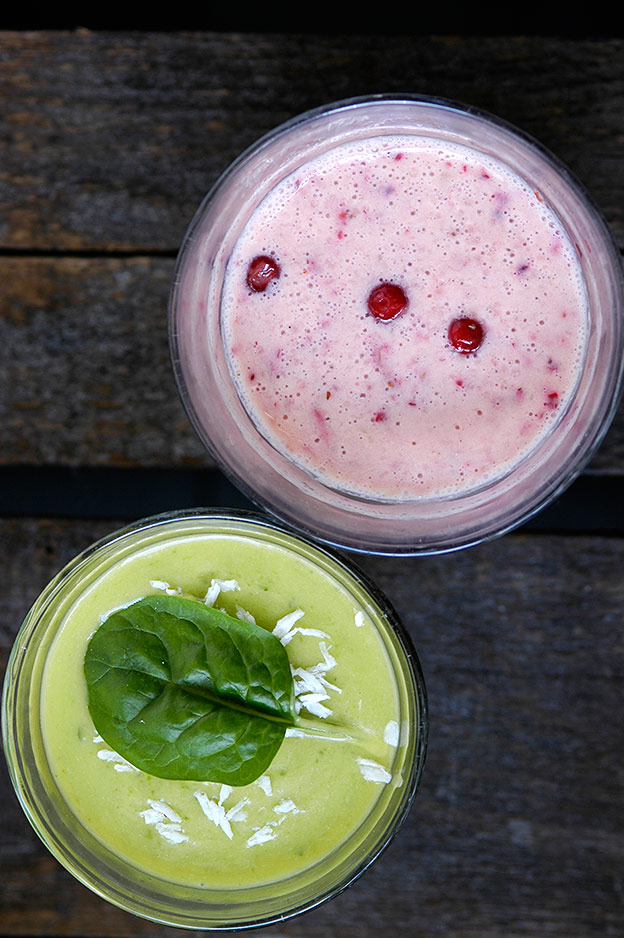 Tropical smoothie with mango and spinach. Autumn smoothie with lingonberry and plums