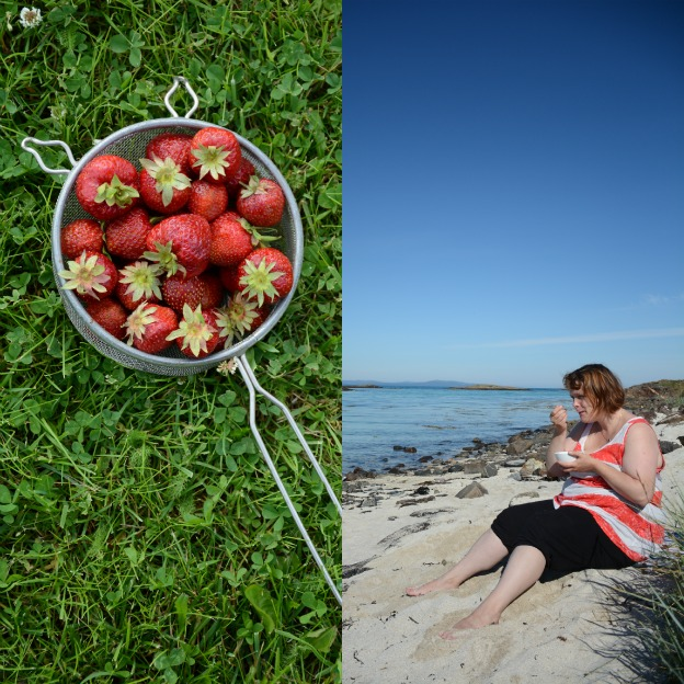 Strawberries and ice on the beach