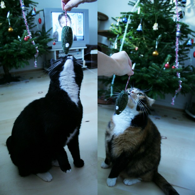 Doris (to the right) and Anton, our two former cats, playing on Christmas Eve.