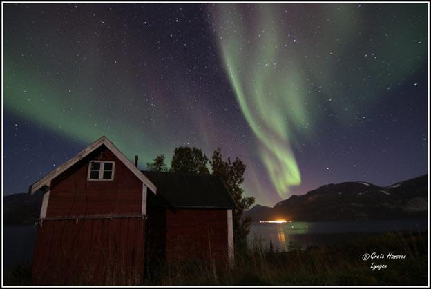 Nordlys over Lyngen. Foto: Grete Hanssen.