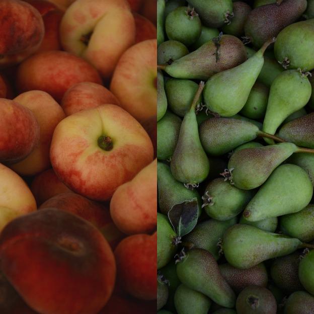 Pesche e pere, peaches and pears