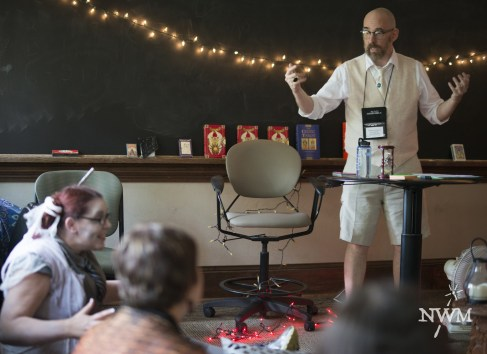 A poltergeist disturbs a Magical Theory and Ethics class in NWM4. Photo by Learn Larp LLC.