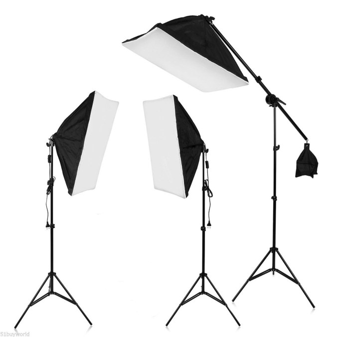 Studio lights with softboxes and stands.